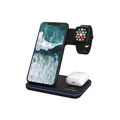 CANYON 3 en 1 Estación de Carga Inalámbrica Rapida Quick Charge 21W - Cargador Inductivo Wireless Qi con Stacion para Apple Watch - Compatible con iPhone, Airpods, Samsung Galaxy, Note, Buds -