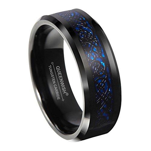 Queenwish 8mm Blue Black Celtic Dragon Tungsten Carbide Ring Wedding Band Size 6