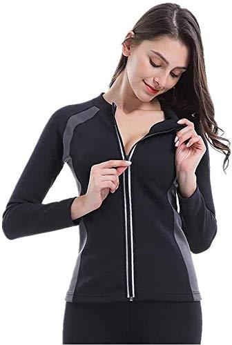 Camiseta de Neopreno con cremallera para la Pérdida de Peso para Mujer Faja Reductora Adelgazante Abdomen T-Shirt Sauna Chaleco de Sudoración Elástico/Transpirable/Secado Rápido(Manga Larga,M)