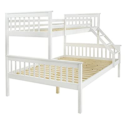 Markliu Bunk Bed Kid Bed White Wood Frame Triple Bed for Adult and Children