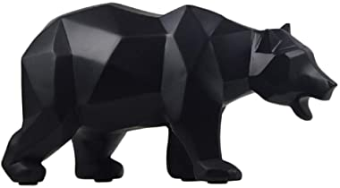 Abstract Sculptures Home Decor Animal Figurines Geometric Surface Statues (Black Bear)