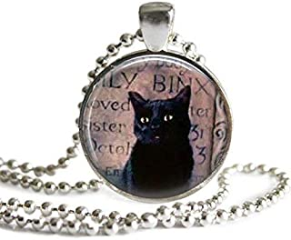 Hocus Pocus Binx 1 Inch Silver Plated Picture Pendant Necklace