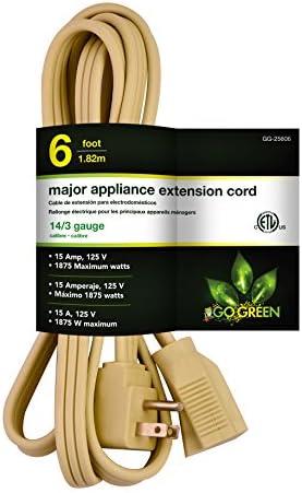 Go Green Power Inc. GG-25606 6′ 14/3 Appliance Cord, ,