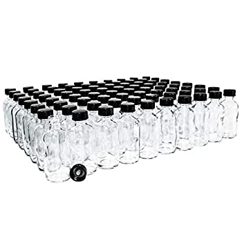 Pack of 80  2 oz Clear Boston Round with Black Poly Cone Cap