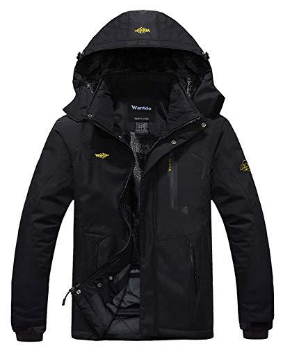 Wantdo Chaqueta de Montaña Esquí Impermeable para Hombres Negro Small