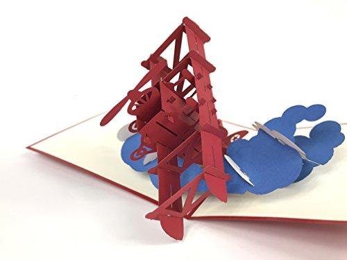 3d kaarten Radiale motor mooie oude tweedekker vliegtuig vliegen over de wolken verjaardagskaart naamdag kaart groeten kaart Gelukkige verjaardag 3D pop-up wenskaart, Kirigami Paper Craft PostCards, Dank u pop-up wenskaart, PostCards, viering, felicitatie ...