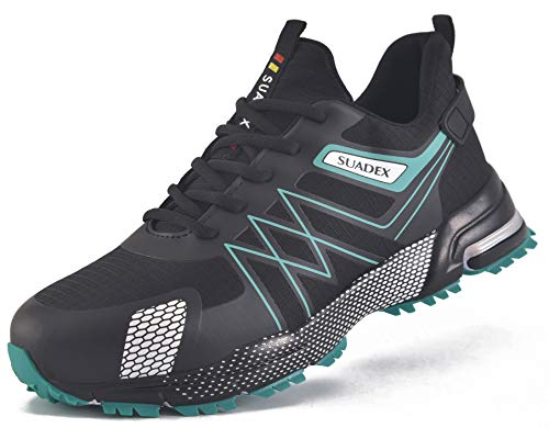 SUADEX オシャレ安全靴スニーカー あんぜん靴 作業靴 あんぜんくつ ブラック グリーン工事現場靴 通気性 鋼製先芯 ケブラー つま先保護 ケブラー防刺 耐摩耗 耐滑 セーフティーシューズ