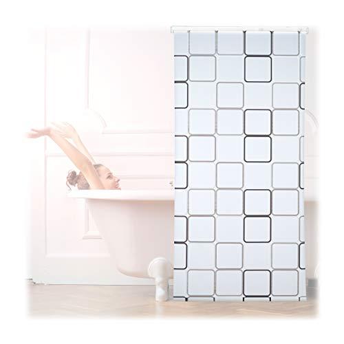 Relaxdays Duschrollo Square, wasserabweisend, Retro Badrollo Wanne u. Dusche, Deckenmontage, 100x240cm, semitransparent