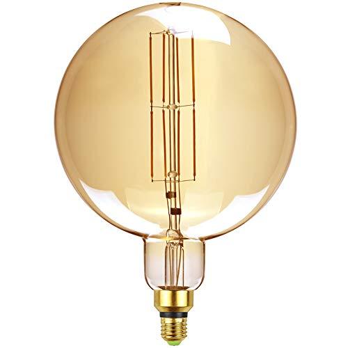 Bombillas LED antiguas de TIANFAN, bombilla decorativa gigante de 8 W, base regulable E27, 220/240 V, 600 lúmenes, súper amarillo cálido (G200)