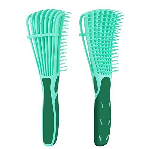Cepillo desenredante para cabello natural, desenredador para afro América 3a a 4c ondulado, rizado, pelo grueso, desenredar fácilmente con mojado/seco, aplicar acondicionador/aceite (verde)