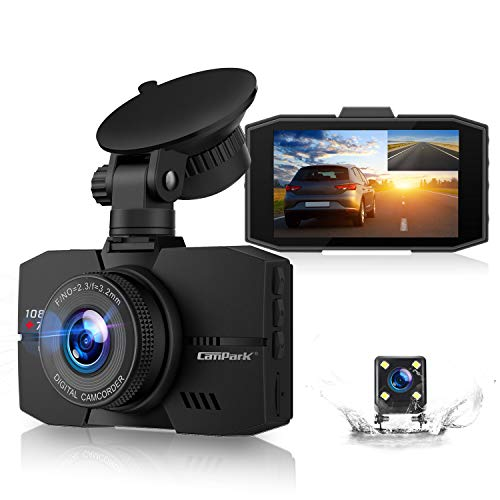 Campark Dash Cam Front and Rear Full HD Dual Dashboard Camera for Cars with 3 Inches Screen Night Vision 170° Wide Angle G-Sensor Loop Recording Parking Mode