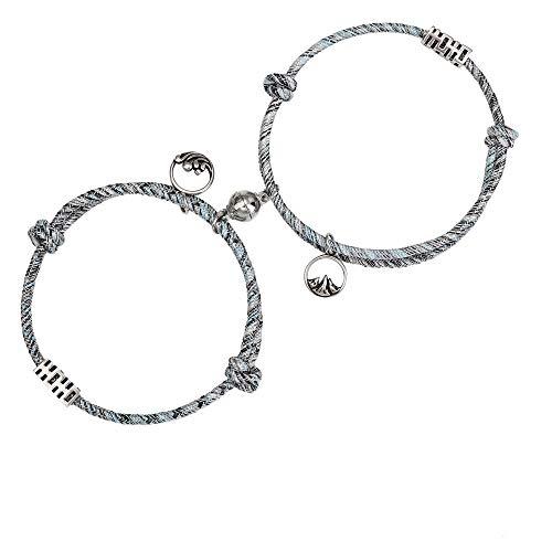 LOYALLOOK Magnetic Bracelet, Adjustable Woven Couple Bracelet, Love Bracelet for Men and Women