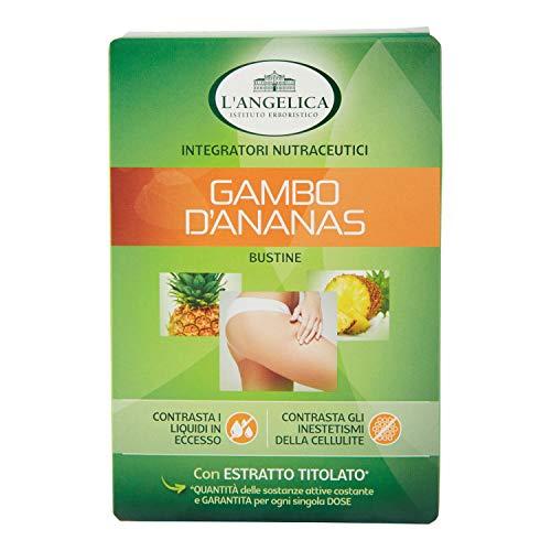 L'Angelica, Integratore Drenante Anticellulite con Gambo d'Ananas, Favorisce la Digestione, Contrasta la Ritenzione Idrica e gli Inestetismi della Cellulite, 12 Bustine