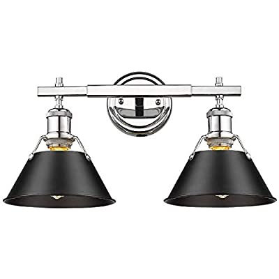Beaumont Lane 2 Light Steel Vanity Light in Chrome and Black