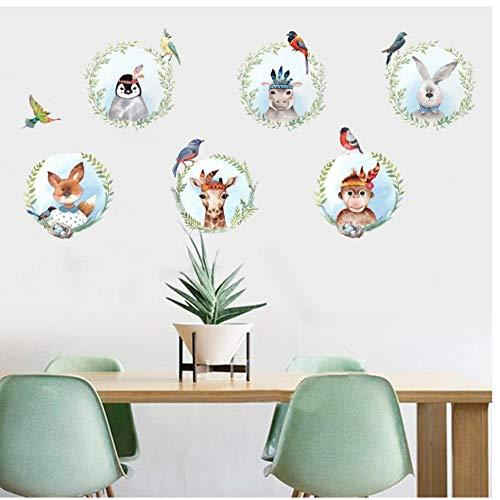 Muursticker PVC Cartoon Dieren Herten Konijn Aap Vogel Plant Muurstickers voor Kinderen Kamer Slaapkamer Boom fotolijst Kunst Poster Behang 60x90cm