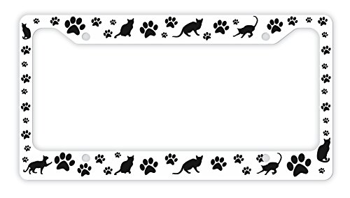 Cat Lovers Gifts Kitty Cat Pawprints Cat Lover Gifts Cat Gifts for Women Rescue Cat Novelty License Plate Frame Paws
