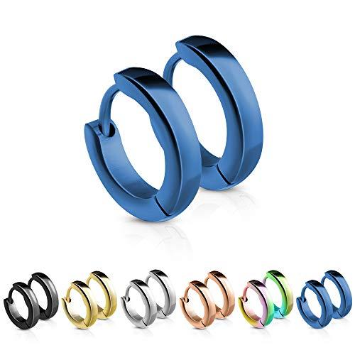Treuheld® | Schmale Creolen/Ohrringe aus medizinischem Edelstahl | 2,5mm x 12mm | Blau | Klappcreolen für Damen und Herren | Set/Paar