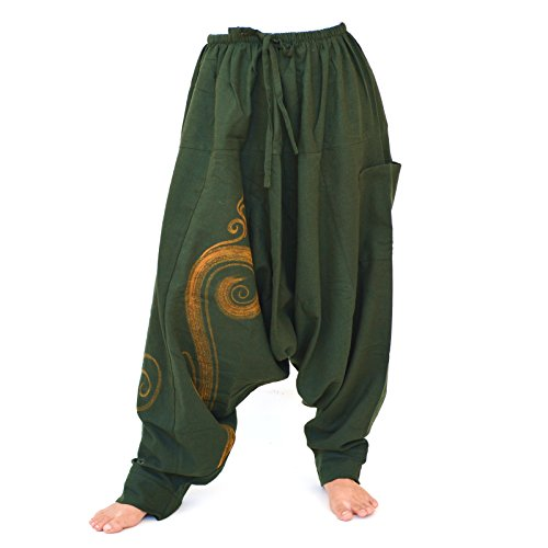 Siamrose Haremshose Damen Herren Drop Crotch Hose, Aladin Hose, Yogahose, Bohohohose, Einheitsgröße - Grün - Einheitsgröße