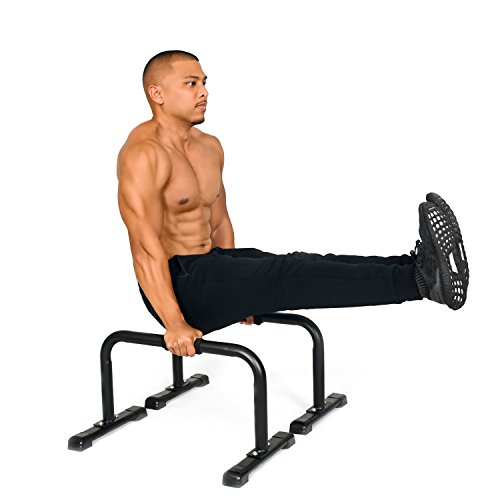 Simple Fitness Steel Bar Parallettes-14x24 Inch-Non-Slip Feet and Attachable Foam Grip