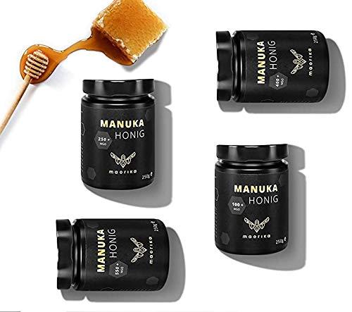 maorika - Manuka Honig Geschenk Set, 4 Gläser 250g (MGO 550, 400, 250, 100) - laborgeprüft