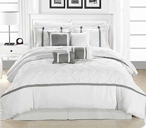 Chic Home Vermont 8 Piece Comforter Set, White/Silver, King