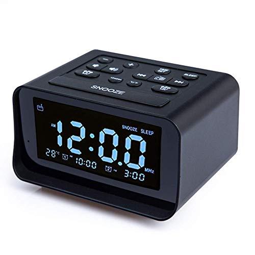 Iwinna 1 Piece Digital FM Radio Alarm Clock LED Digital Desk Clock USB Charging with Snooze for Bedroom Office Desk Livingroom