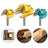 """SUSOTA 1/4-Inch Shank 45 Degree Lock Miter Router Bit Set Joint Milling Router Bits Woodworking Cutter Tool - (1/2"""" 5/8"""" 3/4"""") Cutting height 3PCS"""