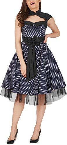 BlackButterfly 'Athena' Polka-Dots Kleid mit großer Schleife (Nachtblau, EUR 50-4XL) - 4