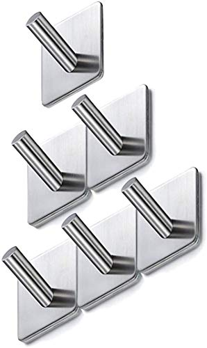 Ganchos autoadhesivos, ganchos pegajosos ganchos de acero inoxidable ganchos de puertas de servicio pesado, ganchos de toalla de 6 piezas para baños, cocina, armario de lavabo y a prueba de herrumbre