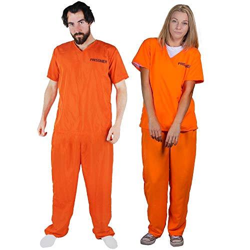 ILOVEFANCYDRESS Unisex Arancione Prigioniero DETENUTO tra Cui Manette Costume Fantasia Costume Due Pezzi Top & Pantaloni Perfetti per Feste di Halloween X- Piccolo EU 34-36