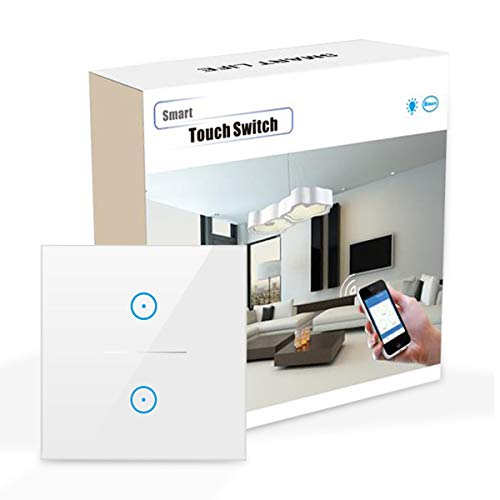 Wifi Smart Lichtschalter, Wlan lichtschalter arbeitet mit Amazon Alexa,Google Home,Fernsteuerung Ihrer Geräte von überallre,gehärtetes Glas Touchscreen-schalter mit Überlastungsschutz (N Wire Needed))