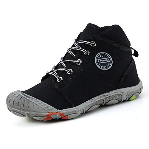 XIANV Schuhe Kinder Jungen Sneaker Cowboy Sportschuhe Mädchen Outdoor Laufschuhe High-top Schnürer Schmutzige Schuhe (32 EU, Schwarz)