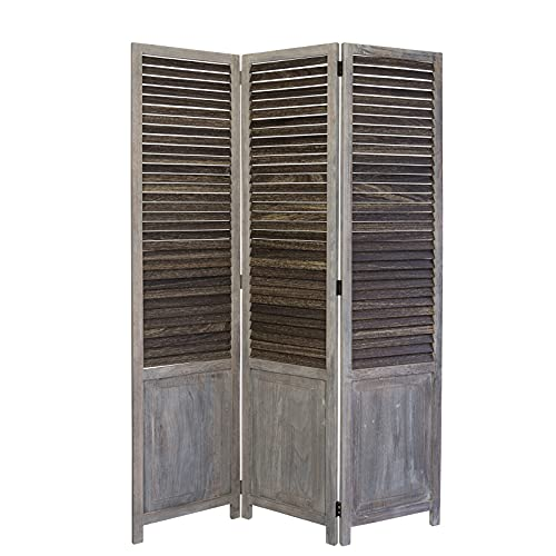 Homestyle4u 1365, Paravent Raumteiler 3 teilig, Holz Lamellen, Grau