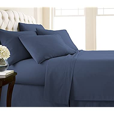 Southshore Fine Linens - Vilano Springs - 6 Piece - Extra Deep Pocket Sheet Set , QUEEN , Dark Blue