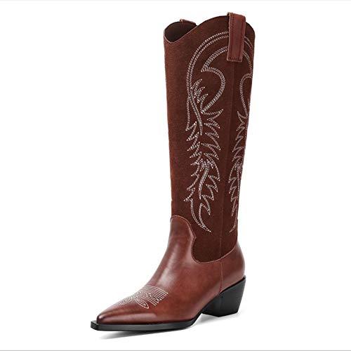 GAO-bo Catwalk-Stiefel mit quadratischem Zehenbereich, dicker Absatz, rutschfest, verschleißfest und atmungsaktiv, modisch, bestickt, Leder, Einzelstiefel (Farbe: A, Größe: 36)