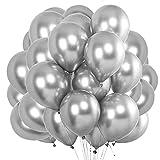 O-Kinee Globos de Fiesta, 50 Piezas Globos Plateados Metalizados, para Cumpleaños, Bodas Aniversario, Bautizos Comunion Baby Shower, Graduacion Fiesta Decoracion