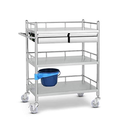 3-Shelf Medical Nurse Speicher-Laufkatze mit 2 Fächern, Edelstahl-Gebrauchslaufkatze für...