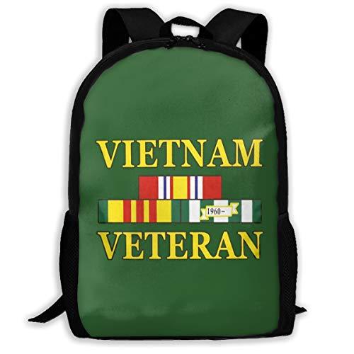 UKFaaa Rucksack, Vietnam Veteran, klassischer Leichter Rucksack für Herren und Damen, College, Schultasche, Reisetasche, Schwarz, Einheitsgröße