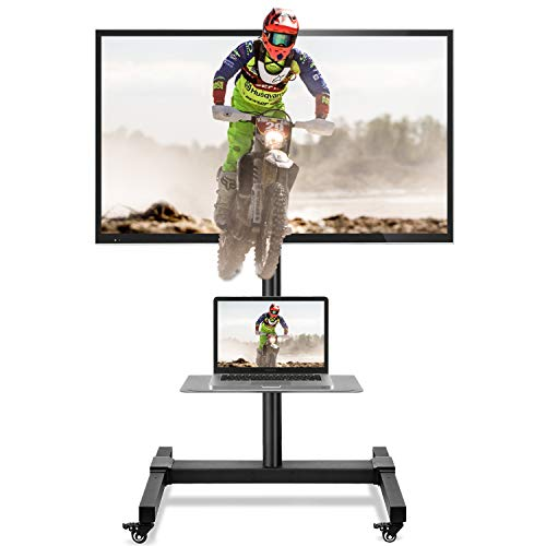 5Rcom Mobile TV Cart Rolling TV Stand with Wheels Height Adjustable for Most 32 37 42 47 50 55 60 65...