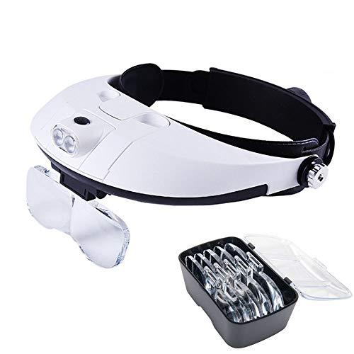 Lychee Lampada LED su caschetto con lente d'ingrandimento, kit d'illuminazione con lente d'ingrandimento, da gioielliere, per avere le mani libere [Classe di efficienza energetica A] (01)