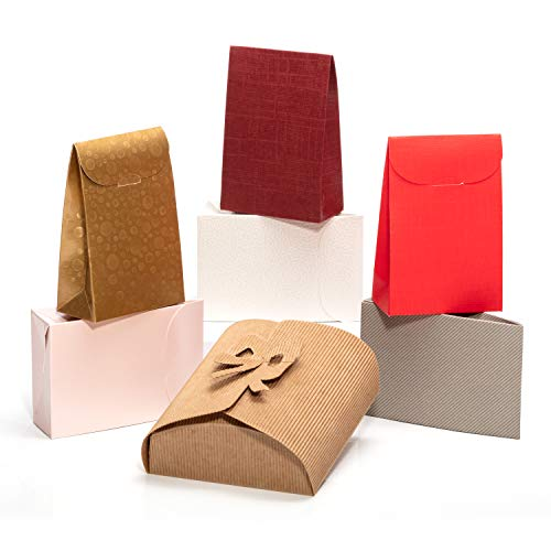 Giovanni Grazielli 6+1 Set of Small Cardboard Gift Boxes with Lids for Different Occasions as Wedding, Birthday, Bridesmaid, Kids or Baby Shower Party, Graduations (5x4x2 in), Bonus: 1 Brown Box