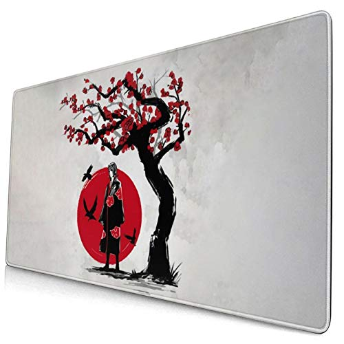 Anime Naruto Akatsuki Uchiha Itachi Gaming Keyboard and Mouse Pad Large Extended Gamer Mouse Mat Non-Slip Rubber Full Desk Mousepad for Computer Laptop Office 15.8 x 29.5 Inch