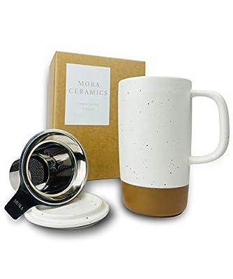 Mora Ceramics Large Tea Mug with Loose Leaf Infuser and Ceramic Lid, 18 oz, Portable, Microwave and Dishwasher Safe, Tall Coffee Cup - Rustic Matte Ceramic Glaze, Modern Herbal Tea Strainer, Cotton