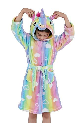 Ksnnrsng Kinder Sanft Einhorn Mit Kapuze Bademantel Nachtwäsche - Einhorn-Geschenke für Mädchen (Herz, 10-11 Jahre)