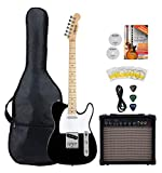 Shaman Element Series TCX-100B Starter Set (Hochwertige E-Gitarre im TL Style mit 2 Single Coil Pickups & Cutaway inkl. 15W Gitarren Amp & 5 teiligem Zubehörset für E-Gitarre) Schwarz