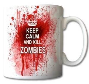 uglymug UM002 - Taza de cerámica, diseño con texto 'Keep Calm and Kill Zombies'