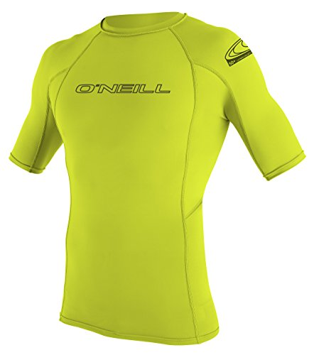 O 'Neill Wetsuits Basic Skins S/S Crew - Camiseta de poliester para hombre con proteccin UV Verde lima Talla:extra-large