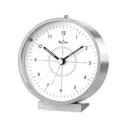 Bulova B6844 Flair Alarm Clock, Silver