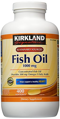Kirkland Signature Omega-3 Fish Oil Concentrate, 800 Softgels, 1000 mg Fish Oil with 30% Omega-3s (300 mg)