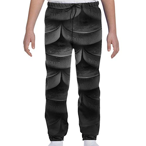 Oomato Youth Sweatpants Black Ice Hockey 3D Print Teens Trousers, Boys Girls Casual Active Soft and Cozy Sports Jogger Pants